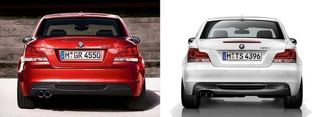 Задняя часть BMW E82 до (слева) и после (справа) обновления