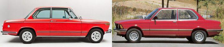 BMW E10 vs E21 - вид сбоку