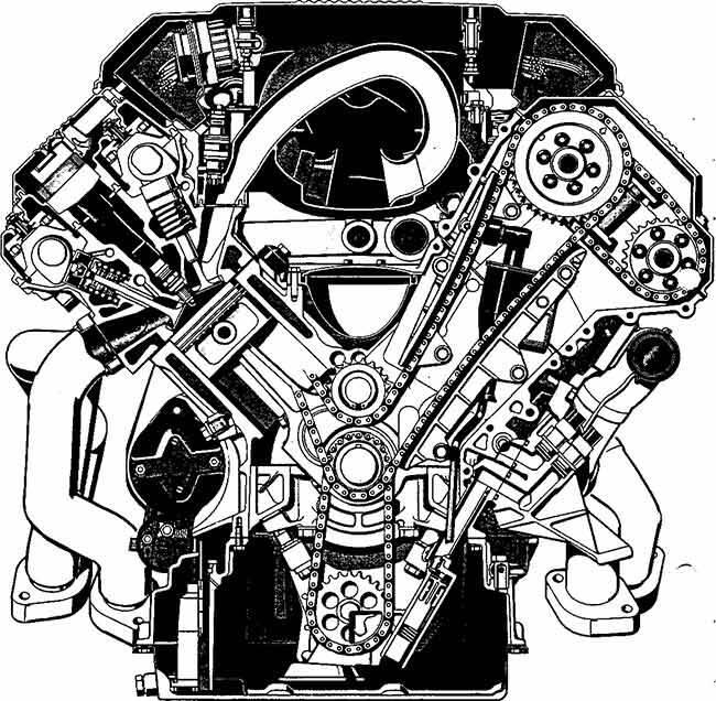 Фото двигателя BMW М60 в поперечном разрезе