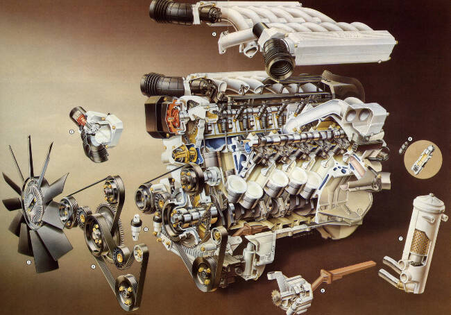 Фото двигателя BMW M73 в разборе
