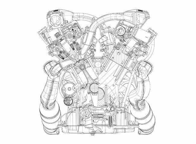 Фото двигателя BMW N73 - чертеж - вид сзади