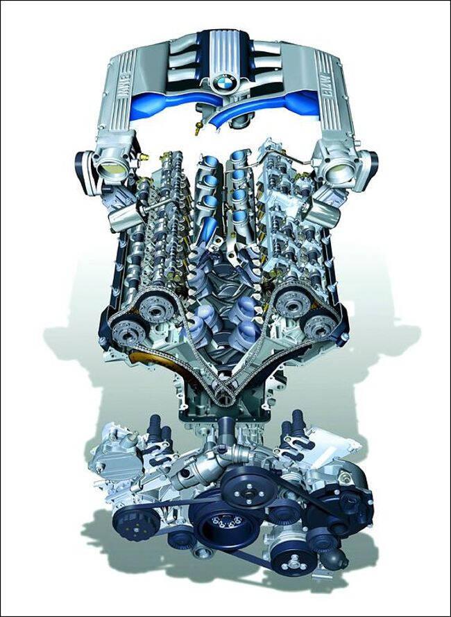 Фото двигателя BMW N73B60 в разрезе
