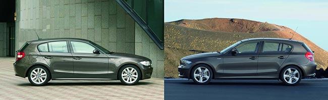 Слева-BMW-E87-до-2007-года-справа-BMW-E87-LCI