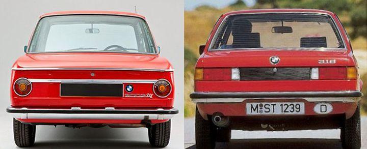 BMW E10 vs E21 - вид сзади
