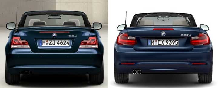BMW E88 vs F23 - вид сзади