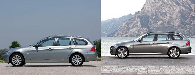 BMW E91 до и после рестайлинга - вид сбоку