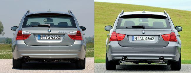 BMW E91 до и после рестайлинга - вид сзади