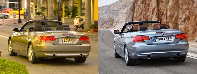 BMW E93 до и после рестайлинга - вид сзади