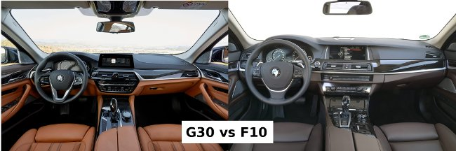 Салон BMW G30 vs F10