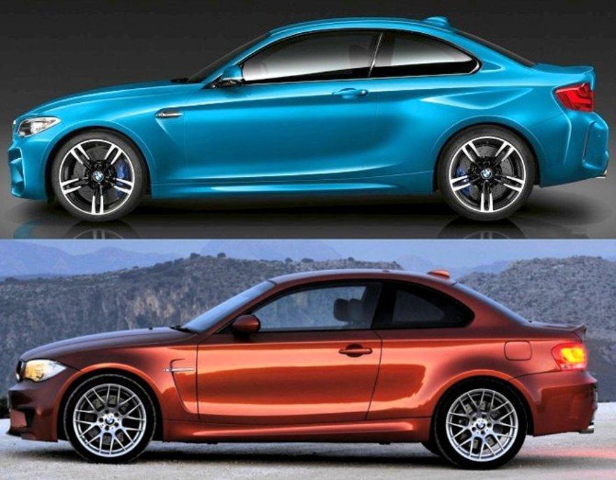 BMW M2 F87 vs 1M E82 - вид сбоку