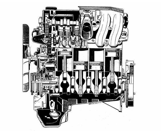 Фото двигателя BMW М42 - продольный-разрез