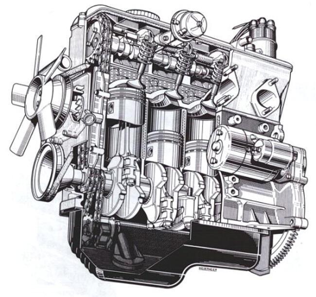 Фото двигателя BMW M10 в разрезе