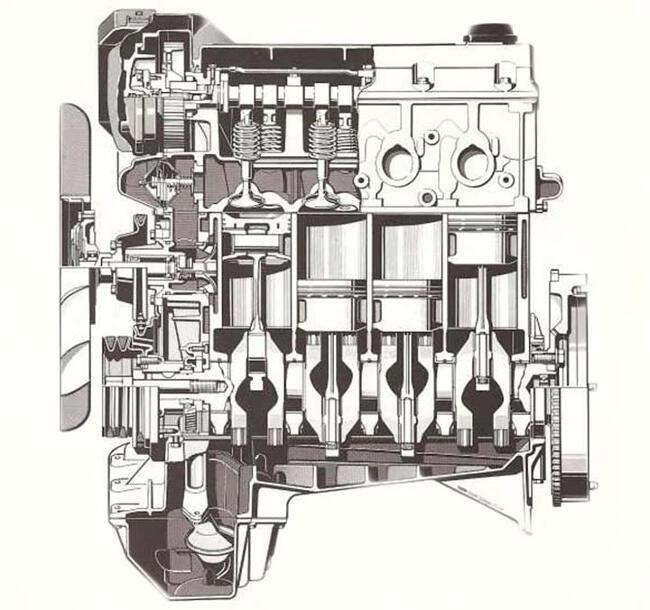 Фото двигателя BMW M40 - продольный разрез