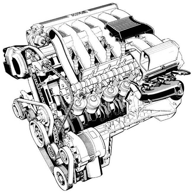 Фото двигателя BMW M70 в разрезе