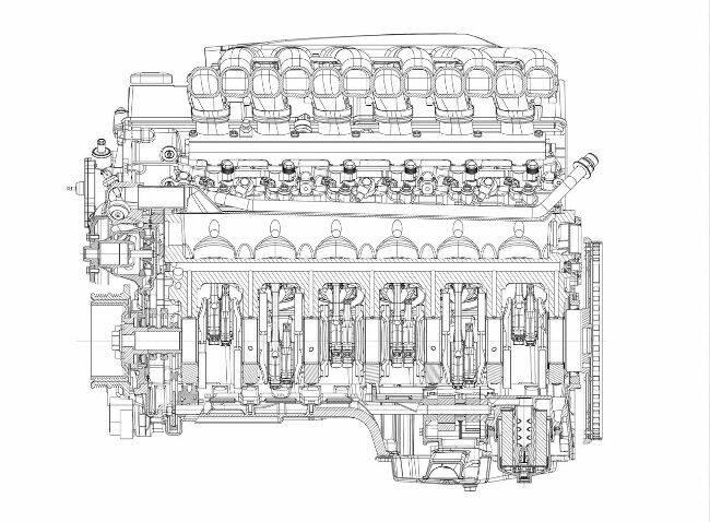 Фото двигателя BMW N73 - чертеж - вид сбоку