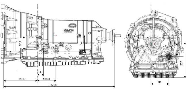 Размеры АКПП ZF 8HP70