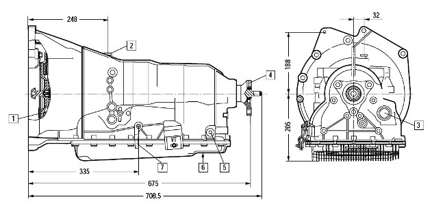 Размеры коробки передач 6HP21