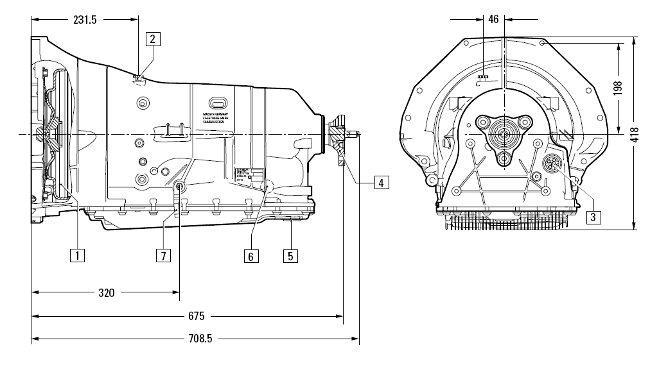 Размеры коробки передач 6HP28