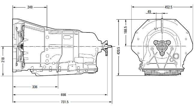 Размеры коробки передач 6HP32