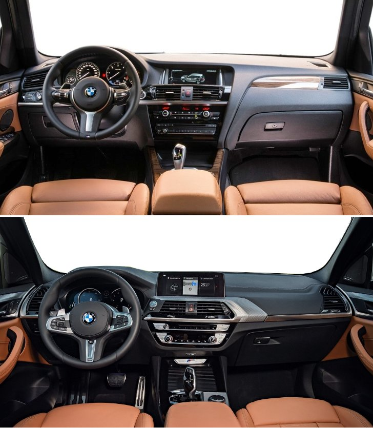 BMW X3 F25 vs BMW X3 G01 - дизайн салона
