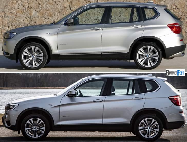 BMW X3 F25 - vs LCI - сбоку