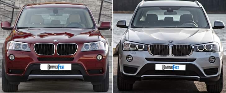 BMW X3 F25 - vs LCI - спереди